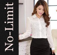 2014 Cute Chiffon Lace shirts Womens White flowers embroidery ladies blouses Diamond Collar shirt blusas blusa Hot