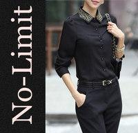 2014 Summer black Chiffon shirts Women female Flower embroidery Collar Long Sleeve Blouses Formal blusa camisas