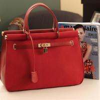 2014 Celebrity Women PU Leather Lock Designer Tote Shoulder Bag Handbag Purse Satchel