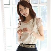 Chiffon shirt female short-sleeve 2014 spring plus size basic shirt women's summer lace shirt female t-shirt 8619