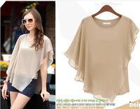 2014 European and American commuter short-sleeved T-shirt flounced chiffon shirt blouse bat shirt Women