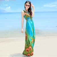 0780 summer one-piece dress ultra long double V-neck bohemia beach dress fashion full dress