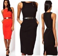 New Europe and America Women's Fashion OL Slim Metal Belt Pencil Dress