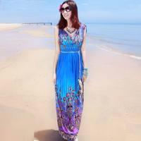 0779 bohemia one-piece dress print full dress V-neck long design plus size beach dress full dress