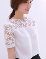 2014 fashion summer women's short-sleeve T-shirt tops lace chiffon patchwork blouse loose chiffon shirts for women