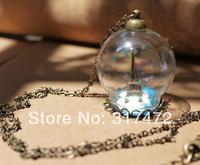 free ship!20set/lot 25*15mm Glass Bubble vial with lace base with top cap with 70cm necklace set  DIY vial pendant glass bubble