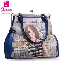 Clip bag women's handbag messenger bag 2014 spring and summer personalized oil painting print handbag