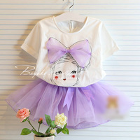 Wholesale,4pcs/lot, 2pcs set= t-shirt+dress,girl's new summer lace child skirt set ,female children's clothing,freeshipping