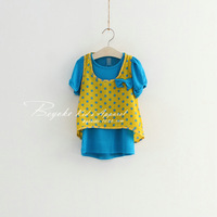 Wholesale,5 pcs/lot,2pcs set=t-shirt dress+vest,girl's new summer dot bow,female children's clothing,factory direct freeshipping