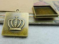 Pendant trays square bezel cabochon mountings, 20x20mm, antique bronze, wholesale