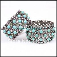 2014 New Design Jewelry Vintage Turquoise Shiny Rhinestone Alloy Elastic Bracelets & Bangles For Women Free Shipping