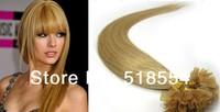Keratin Nail Stick Nail Tip Virgin Remy Human Hair Extensions 100s/pack Color 24# light honey blonde