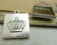 Pendant trays square bezel cabochon mountings, 20x20mm, antique silver, wholesale