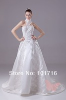 Custom Made 2014 New Design Ball Gown Cap Sleeve Satin Long Train Wedding Gowns WeddingDress Free Shipping