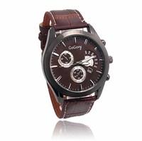 Wholesale Gogoey Brand Leather Strap Casual Watch Men Fashion Sports Quartz Wristwatches with calendar GO093