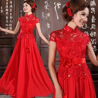 2013 bride wedding dress cheongsam red long design lace evening dress chinese style stand collar evening dress