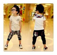 Free Shipping cotton Summer England Style Pure cotton Children Clothes Kid Set White t shirt+cell Harem pants 2pcs boys suit set