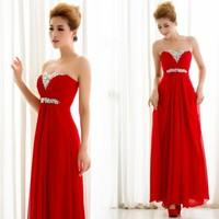 W1 one shoulder long design formal dress costume slim bride evening dress red evening dress long