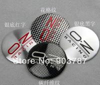 20pcs 56.5mm OZ wheel center caps stickers black / red letters car badge wholesale