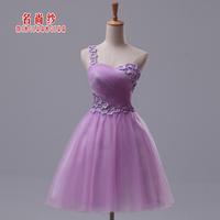 Wedding dress 2014 spring wedding dress short design evening dress purple dress