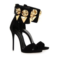 Hot New Black Open Toe Ankle Strap Gold Metal Suede Designer Lady High Heel Sandal Fashion Shoes women