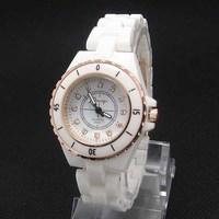 Hot Selling Fashion Gold&White Case Simulate Ceramic Watch Women Ladies Crystal Dress Quartz Wristwatches K463