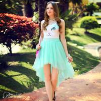 Pink Doll Brand Women's 2014 Summer New Models Irregular Green Fairy Tutu Skirt Big Swing