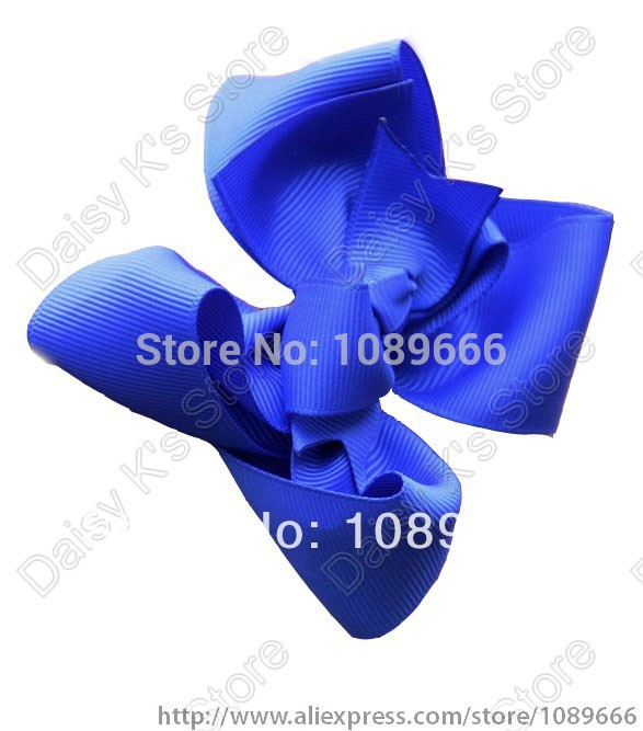 "Free shipping 60pcs/lot Mixed 18colors Hair Bow - 4"" Medium Double Layer Girl Bow Boutique Bow - Blue Bow for toddlers(China (Mainland))"