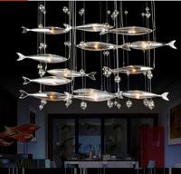 Free Shipping 2014 Newest Modern 6 city  flying fish brief living room lights restaurant  led pendant crystal light