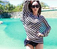 2014 New Women Top Shirt Beach Wear Chiffon Batwing Sleeve Black+White Stripe Sexy  Loose-bodice Tranparent Beach Cover Up Hot