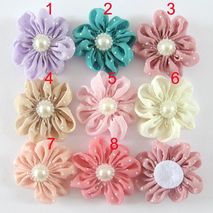 2014 children's hair accessories hot dot Baby chiffon handmade cloth DIY flowers 100pcs/lot(China (Mainland))