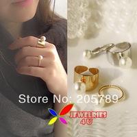 2pieces/set fashion vintage alloy designer silver golden simulated pearls women's finger ring set bagues ensemble