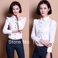 2014 hot sale puff sleeve fashion OL women button blouses Wholesale cheap Solid color Turndown collar Tops white t-shirt QTT61