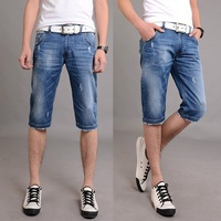Free shipping 2014 Summer New Arrival Frazzled Slim Men's Classic Blue Pirate Shorts Jeans!
