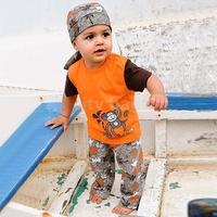 New Baby Boys Clothing Sets Hot Kids Beach Monkey Pattern Short Sleeve T-shirt+Pant+Headband boy's  3-piece set suit SV20081