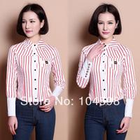2014 new style red Stripe Casual OL women body shirt blouses Wholesale cheap long sleeve fashion button black Stripe Tops QTT63