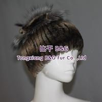 BG70096 Genuine Rex Rabbit Fur Hat With Silver Fox Fur Ball Wholesale OEM Stripes Fur Beanies New 2014 Super Elastic Fur Hat