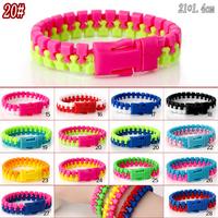 Bohimia Environmental Bicolor Bracelets & Bangle New Zipper Bracelet Fluorescent  Lovers Bracelets Wholesale 10PCS/LOT H20#