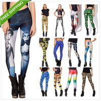2014 Women Sexy vintage Egypt Pharaoh King Tut Cheshire Cat Mechanical Bones White Black Aurora Skye Orange Leggings HOT Sale