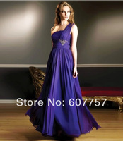 2014 New Style Evening Dress One Shoulder Purple Chiffon Pleat Applique Beading Special Occasion Dress E1404147 Size 2-4-6-8-10