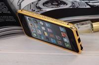 Luxury hybrid sworavski rhinestone bling case cover for iphone 5 5s bumper diamond gold glitter case by factory supply