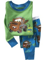 Hot New style green car baby pajamas kids jumpsuits body suit kids sleepwear baby boy/girl pyjamas, 6sets/lot Free shipping