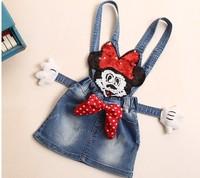 2014 Girls Minnie Mouse clothing Baby Summer dresses Overalls Children dress kids summer dress