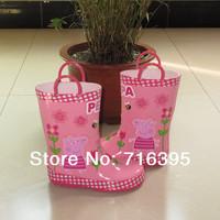 2014 Hot Assuming Peppa pig RainBoots Rubber Rain boots New Fashion Cartoon Child Girl Waterproofe shoes Quality Free shipping