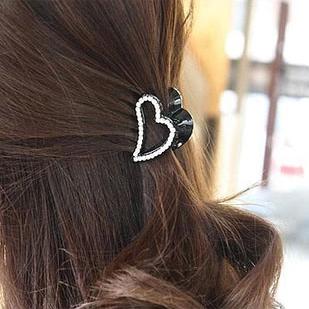 New hair jewelry / Heart-shaped rhinestone barrette small / peach heart hair caught barrette / hair accessories(China (Mainland))
