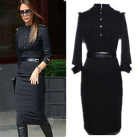 women Victoria stand collar half sleeve slim sexy black dress military uniform plus size belt star style vintage long dresses