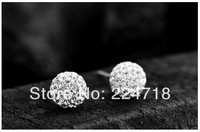 Min order $10(mix order) 925 sterling silver ear studs with ball shape suitble for Tourist souvenir, wedding, staff welfare