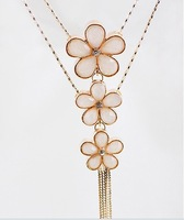 Three plum flower  fashionable tassel flower long chain Rhinestone sweater necklace