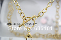 10pcs 20'' 6mm width PVD gold flat cable stainless steel toggle chain necklace for floating charms glass locket