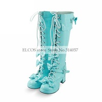 Handmade Blue High Gloss PU Leather 4.5cm High Heel Sweet Lolita Boots as  Halloween Cosplay Shoes